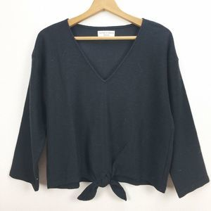 Madewell Texture & Thread Black Tie Front Top 2X